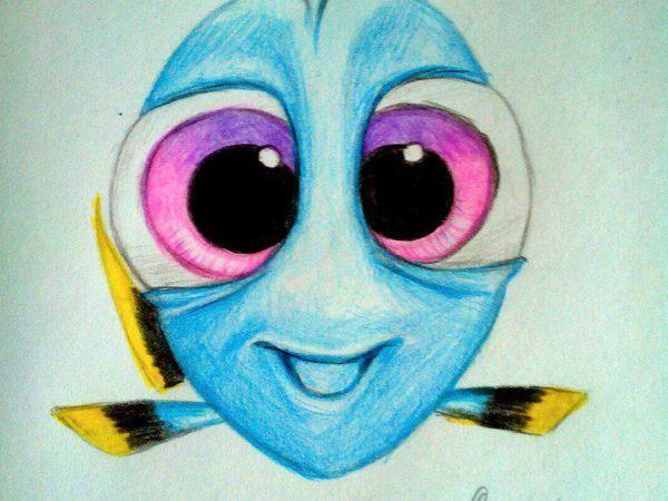 Мастер-класс: как нарисовать яркую рыбку Дори цветными карандашами | Ярмарка Мастеров - ручная работа, handmade