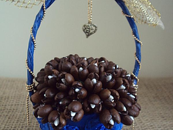 Цветы из кофейных зерен | Ярмарка Мастеров - ручная работа, handmade