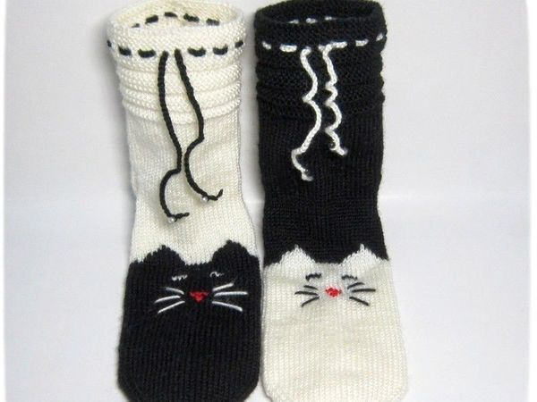 вязание на 5 спицах носки мурчащие своими руками мастер класс