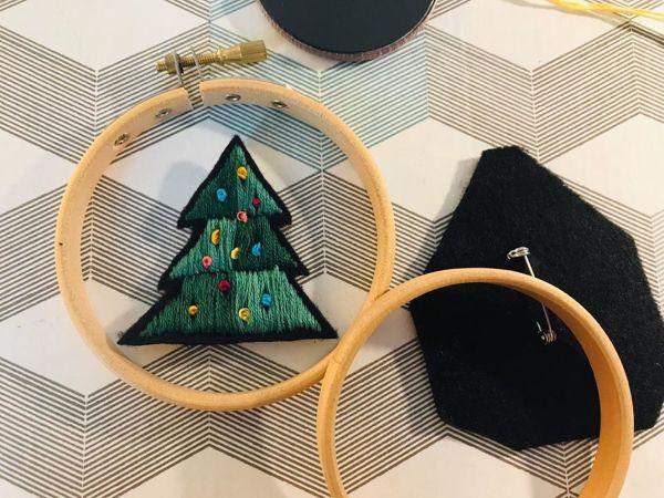Вышиваем брошку «Елочку» | Ярмарка Мастеров - ручная работа, handmade