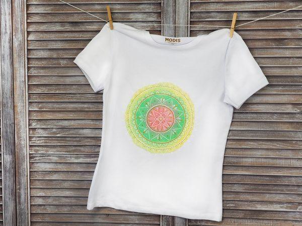 Как нарисовать мандалу на футболке своими руками | Ярмарка Мастеров - ручная работа, handmade
