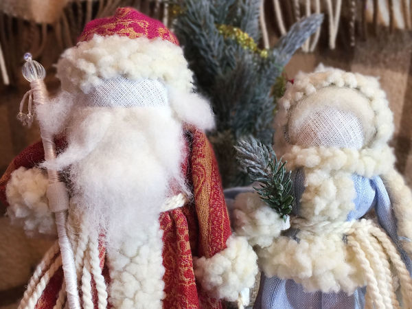 Мастер-класс: Дед Мороз и Снегурочка по мотивам народных кукол   Ярмарка Мастеров - ручная работа, handmade