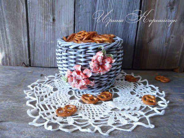 Мастер-класс по плетению корзинки из бумажной лозы | Ярмарка Мастеров - ручная работа, handmade