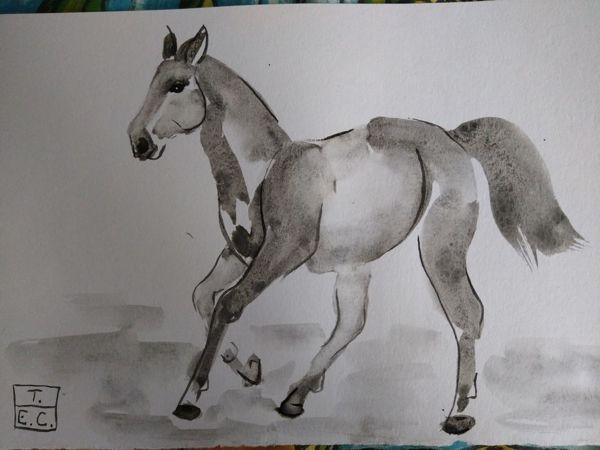Риуем лошадь акварелью на китайский манер | Ярмарка Мастеров - ручная работа, handmade