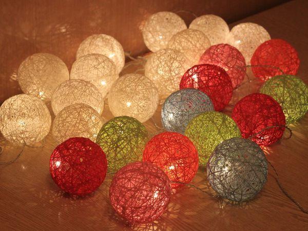 Светящаяся гирлянда с шарами из ниток | Ярмарка Мастеров - ручная работа, handmade