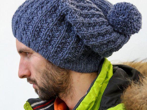 Вяжем мужскую шапку спицами | Ярмарка Мастеров - ручная работа, handmade