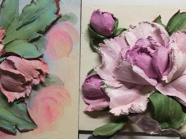 Рисуем картины с пионами в технике скульптурной живописи   Ярмарка Мастеров - ручная работа, handmade