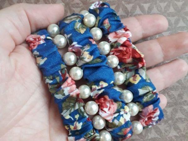 Шьем широкий браслет из ткани и бусин | Ярмарка Мастеров - ручная работа, handmade