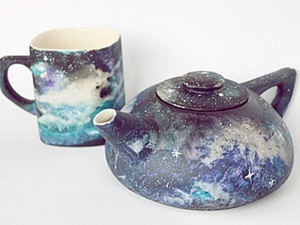 Рисуем космос акриловыми красками по керамике | Ярмарка Мастеров - ручная работа, handmade