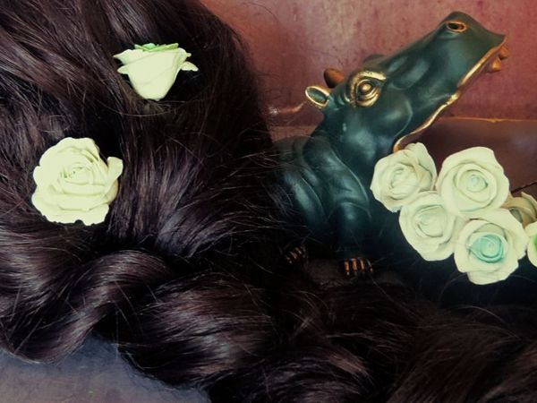 Как сделать шпильки с розами из глины своими руками   Ярмарка Мастеров - ручная работа, handmade