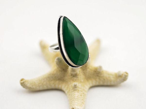 Кольцо с зеленым ониксом | Ярмарка Мастеров - ручная работа, handmade