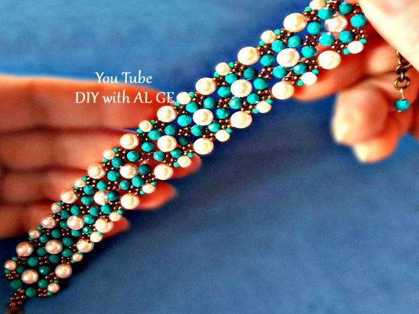 Плетем ажурный браслет из бисера и бусин | Ярмарка Мастеров - ручная работа, handmade
