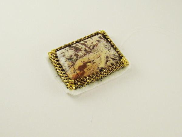Оплетение прямоугольного кабошона бисером | Ярмарка Мастеров - ручная работа, handmade
