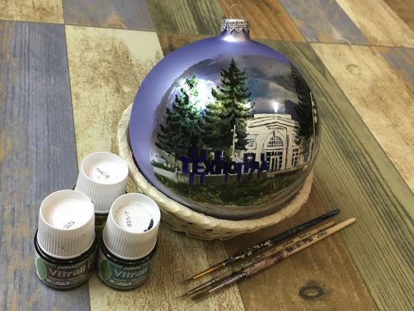 Рисуем архитектуру: Елочный шар «ВДНХ, павильон 63» | Ярмарка Мастеров - ручная работа, handmade