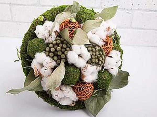 Make Decorative Bouquet Of Cotton And Dried Flowers | Livemaster - handmade