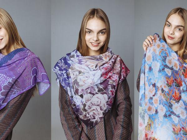 Авторские платки с принтами ручной работы от дизайнера Анны Лукьяновой   Ярмарка Мастеров - ручная работа, handmade