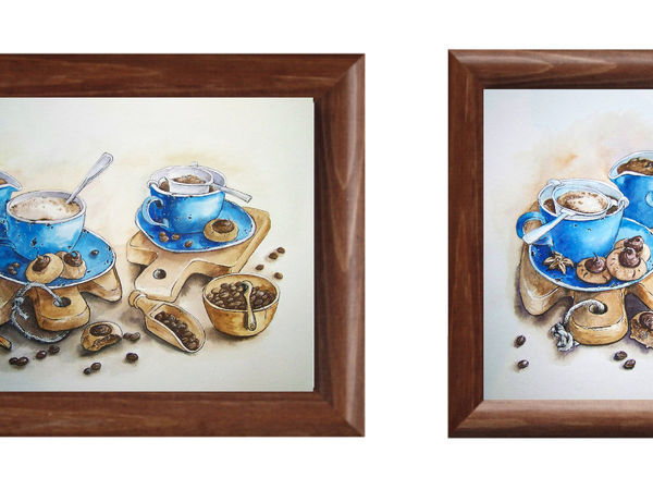 Видеоурок: рисуем акварельную иллюстрацию «Вечерний кофе». Стилизуем натюрморт.   Ярмарка Мастеров - ручная работа, handmade