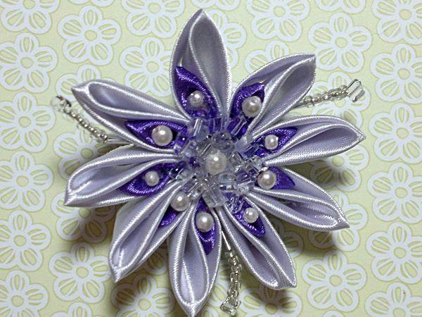 Создаём брошь-цветок в технике канзаши | Ярмарка Мастеров - ручная работа, handmade