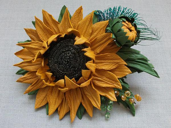 Tutorial: Leather Sunflower Brooch   Livemaster - handmade