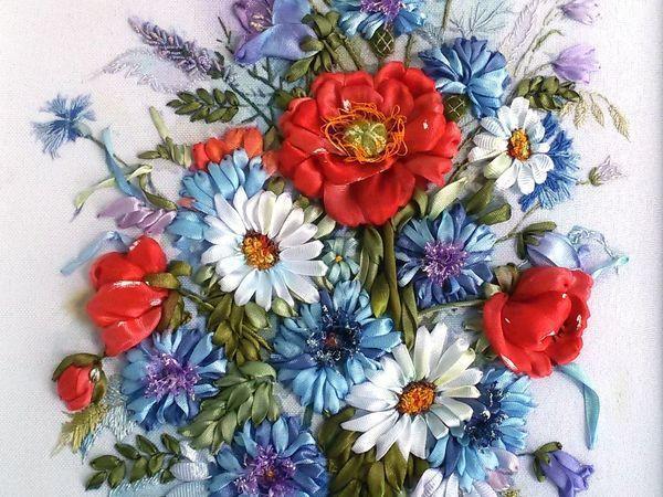 Видеоурок: вышиваем лентами цветы мака | Ярмарка Мастеров - ручная работа, handmade