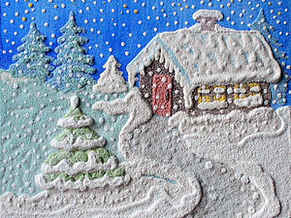 Зимний пейзаж. Детский мастер-класс по Кварцевой живописи (рисунок песком) Мск   Ярмарка Мастеров - ручная работа, handmade