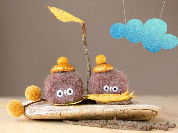 «Осенний Пух»: валяем из шерсти симпатичную птичку | Ярмарка Мастеров - ручная работа, handmade
