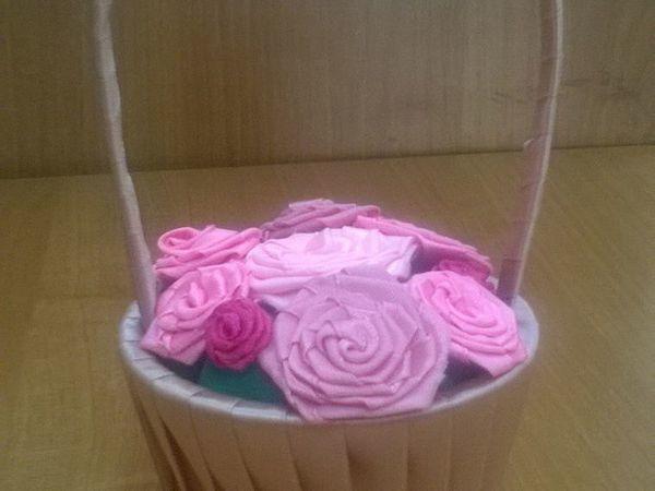 Делаем из атласных лент корзинку с цветами | Ярмарка Мастеров - ручная работа, handmade