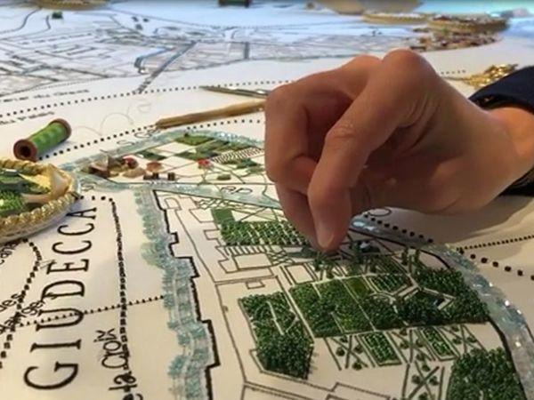 Совместный проект по вышивке карты города Венеция от Школы вышивки Lesage | Ярмарка Мастеров - ручная работа, handmade