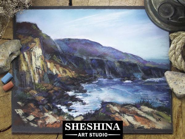 Видео мастер-класс: рисуем морскую бухту сухой пастелью | Ярмарка Мастеров - ручная работа, handmade