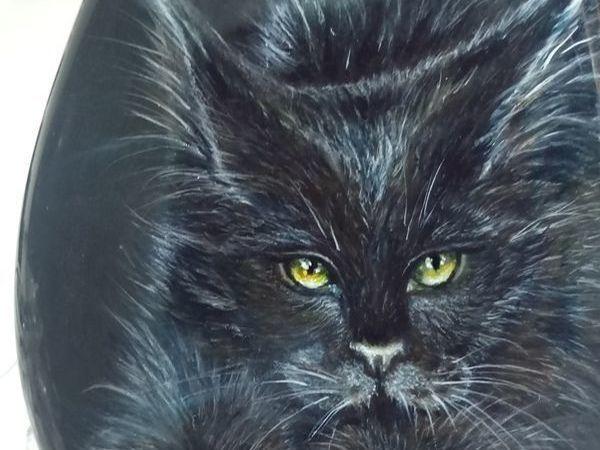 Лютик – черный кот с золотыми глазами - миниатюра на камне. | Ярмарка Мастеров - ручная работа, handmade
