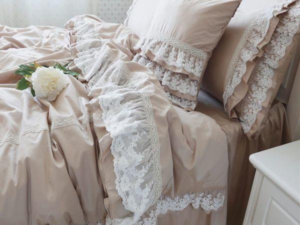 Шикарное постельное белье в стиле шебби шик, карамельного оттенка! | Ярмарка Мастеров - ручная работа, handmade
