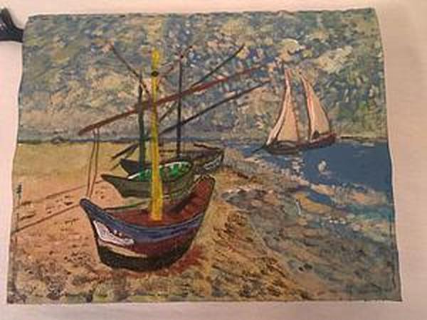 Роспись обложки для ежедневника по мотивам картины Ван Гога «Лодки в Сен-Мари»   Ярмарка Мастеров - ручная работа, handmade