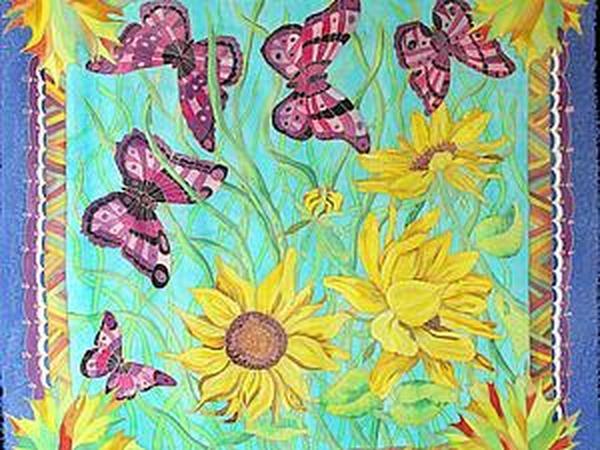 Этапы работы над платком «Август»   Ярмарка Мастеров - ручная работа, handmade