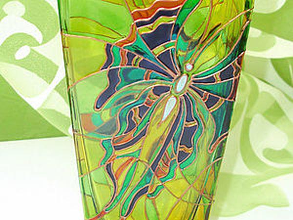 Расписываем стеклянную вазу   Ярмарка Мастеров - ручная работа, handmade