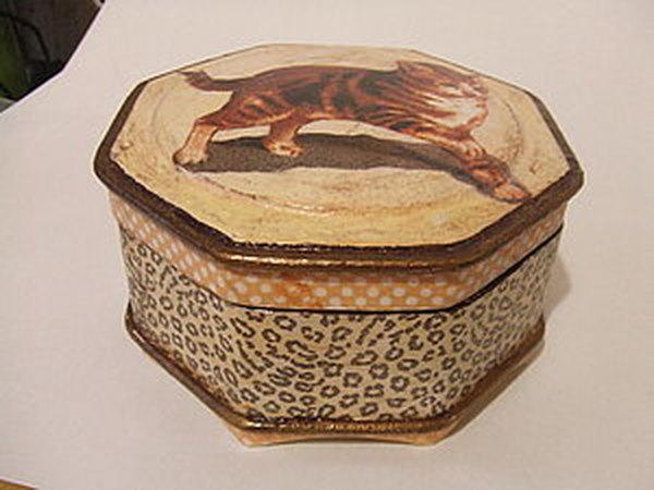 Декупаж шкатулочки  салфеткой с кошками | Ярмарка Мастеров - ручная работа, handmade