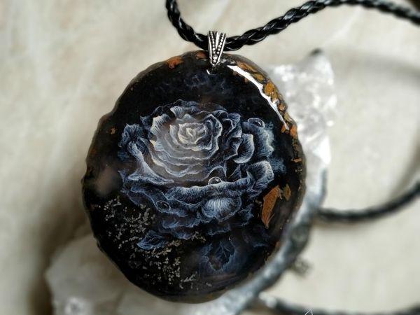 Кулон c росписью по камню  « Свет Розы »  лаковая миниатюра   Ярмарка Мастеров - ручная работа, handmade