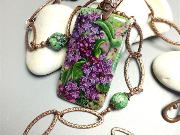 Кулон на цепи – Майская сирень – миниатюрная живопись на камне   Ярмарка Мастеров - ручная работа, handmade
