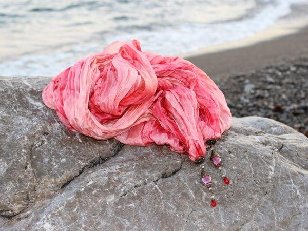 Новинка! Палантин с подвесками  «Коралловый риф»  | Ярмарка Мастеров - ручная работа, handmade