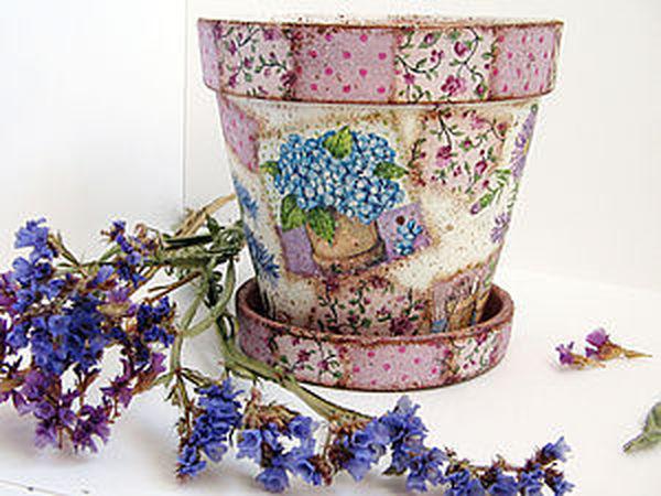 Декупаж на керамике. Декор цветочного кашпо. | Ярмарка Мастеров - ручная работа, handmade