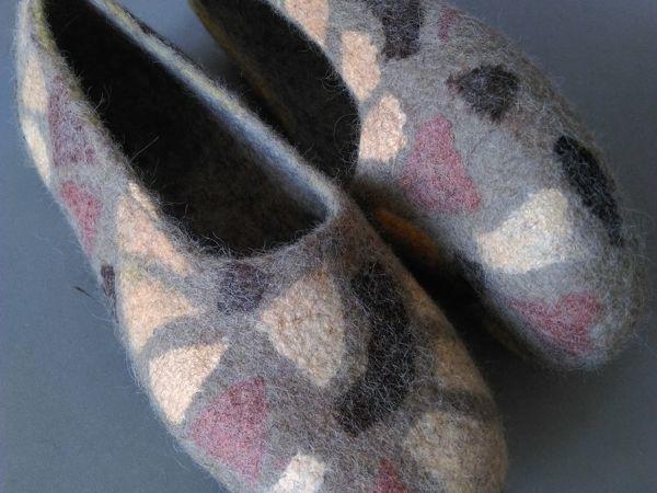 Тапочки валяные с вискозной бумагой «Сафари» обратная раскладка | Ярмарка Мастеров - ручная работа, handmade