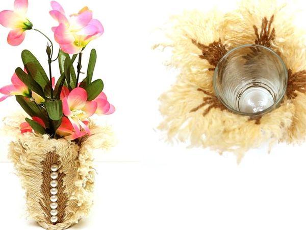 Оригинальная идея для вазы из джутовых перьев | Ярмарка Мастеров - ручная работа, handmade