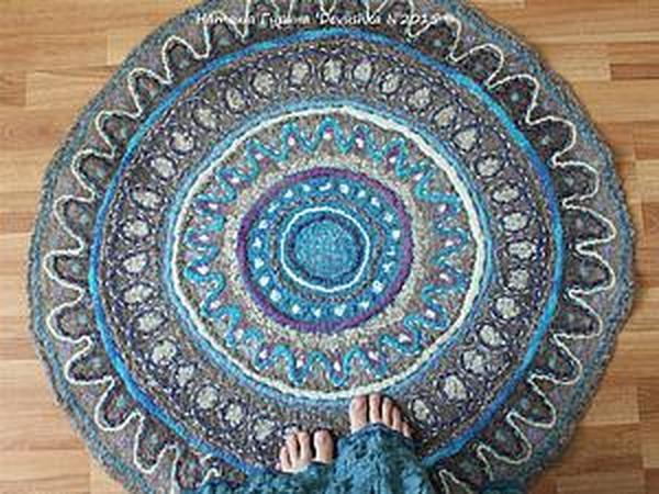 Как свалять уютный ковёр-мандалу в эко-стиле | Ярмарка Мастеров - ручная работа, handmade