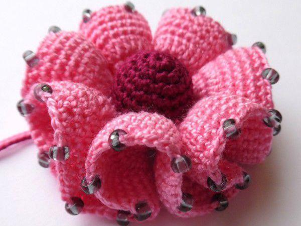 Вяжем цветок с воланами крючком   Ярмарка Мастеров - ручная работа, handmade