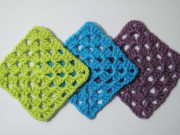 Как связать крючком бабушкин квадрат для начинающих | Ярмарка Мастеров - ручная работа, handmade