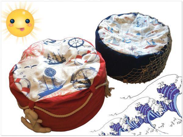 Море рядом: делаем пуфики в морском стиле для дома и дачи | Ярмарка Мастеров - ручная работа, handmade