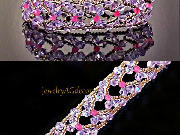 Плетем браслет Бабочки из бисера и биконусов | Ярмарка Мастеров - ручная работа, handmade