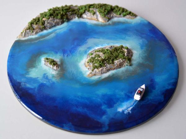 Делаем декоративное панно с морем и островами   Ярмарка Мастеров - ручная работа, handmade