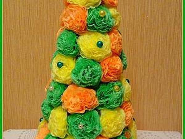 Новогодняя елочка из бумажных салфеток своими руками | Ярмарка Мастеров - ручная работа, handmade