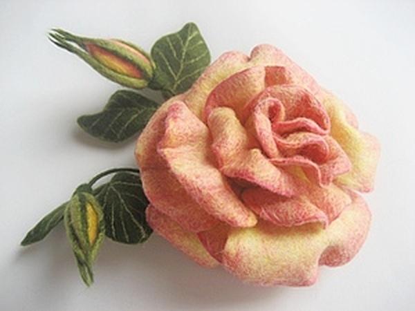 Мастер-класс: роза в технике сухого валяния | Ярмарка Мастеров - ручная работа, handmade