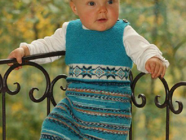 Детский комбинезон с орнаментом на спицах